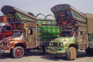 Afghani trucks- note the wooden doors.