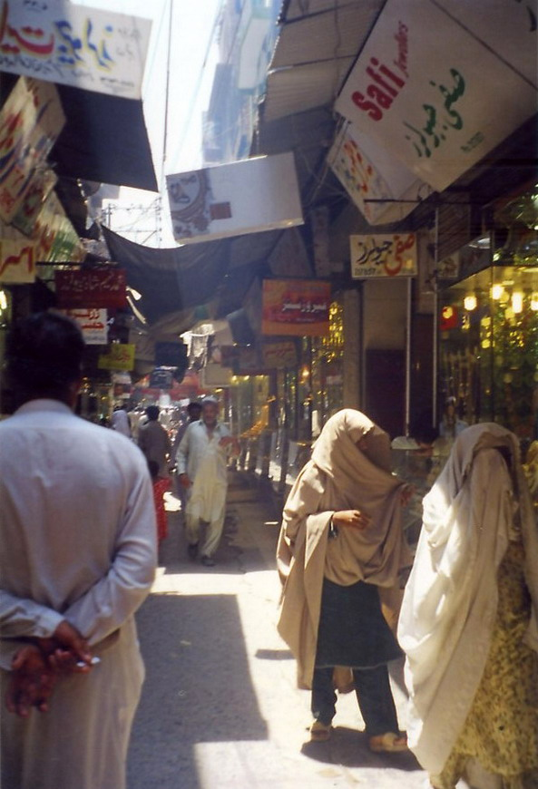 Street of gold jewellers in Peshawar.