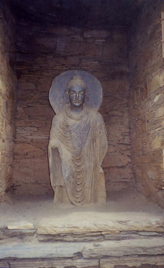 A beautiful example of ancient Gandhara sculpture at Takht Bhai.