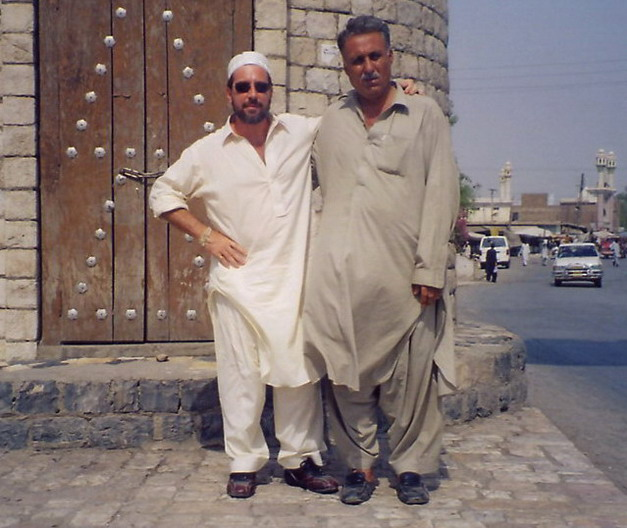 Friend & I at the foot of the Khyber pass about to drive to Kabul.