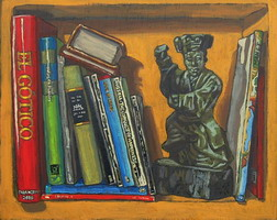 Bookshelf, with Qing dynasty, polychromed wood dancer- Oils on panel 8 x 10 inches