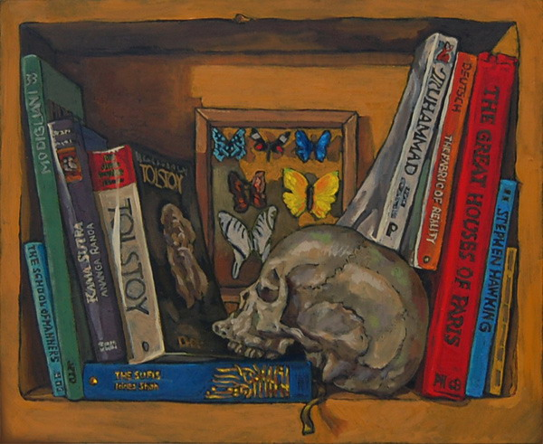 Bookshelf VI With Skull Butterflies Oils On Panel 8 X 10 Inches