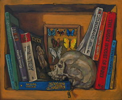 Bookshelf VI, with skull & butterflies- Oils on panel 8 x 10 inches