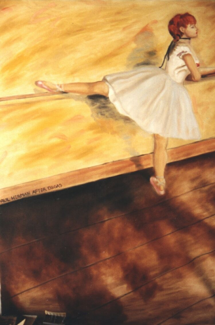 Painting, oils on canvas. Degas, Ballerina. 180 x 120 cm (71 x 48 in) 1 of 6 paintings commissioned by Saks Fifth Avenue in Beverly Hills.