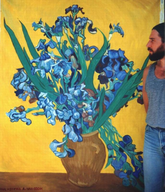 Painting, oils on canvas. Another painting of irises by Van Gogh, 1 of 6 paintings commissioned by Saks Fifth Avenue in Beverly Hills.