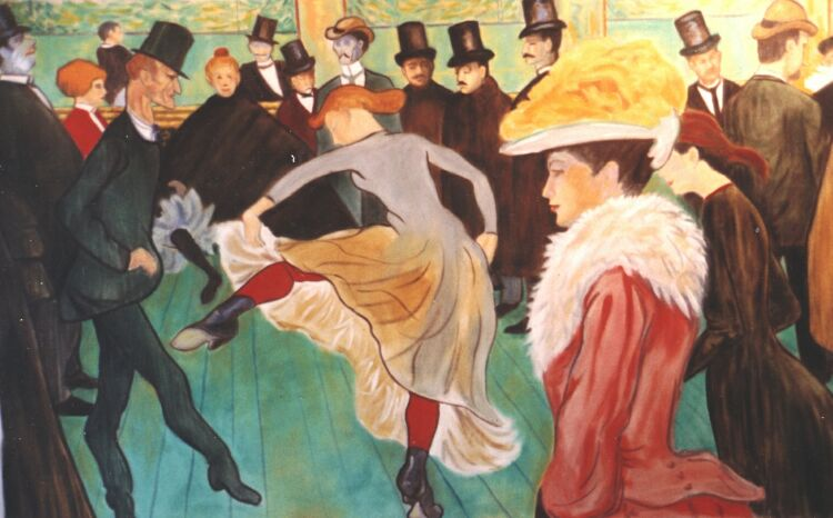 Painting, oils on canvas. Toulouse Lautrec- Dance at the Moulin Rouge. Re-composed slightly for the dimensions the client required. In the next image, the same painting re-composed more drastically for a client who wanted a vertical composition.
