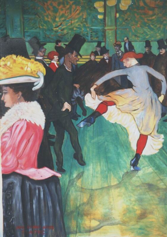 Painting, oils on canvas. Toulouse Lautrec- Dance at the Moulin Rouge. Re-composed for the vertical dimensions the client required. In the last image, the same painting re-composed only slightly for a client with other size requirements.