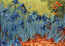 Painting, oil on canvas- Irises composed as an invented continuation of Van Gogh's painting.