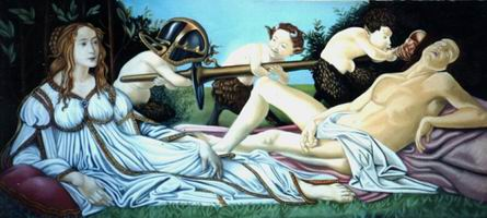 Painting, oil on canvas- Botticelli, Venus & Mars. 90 x 200 cm