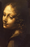 Painting, pastel on paper- Leonardo- Angel from the Madonna on the rocks.