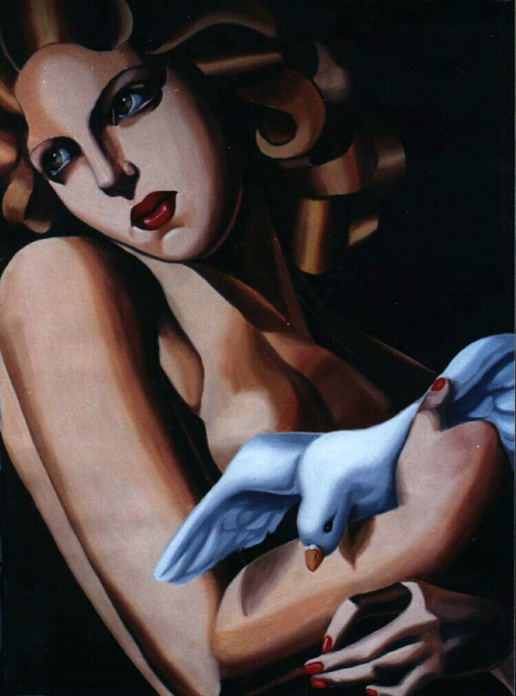 Copy, Tamara de Lempicka. Oil on canvas. One of 7 commissioned by Saks Fifth Avenue in New York City.