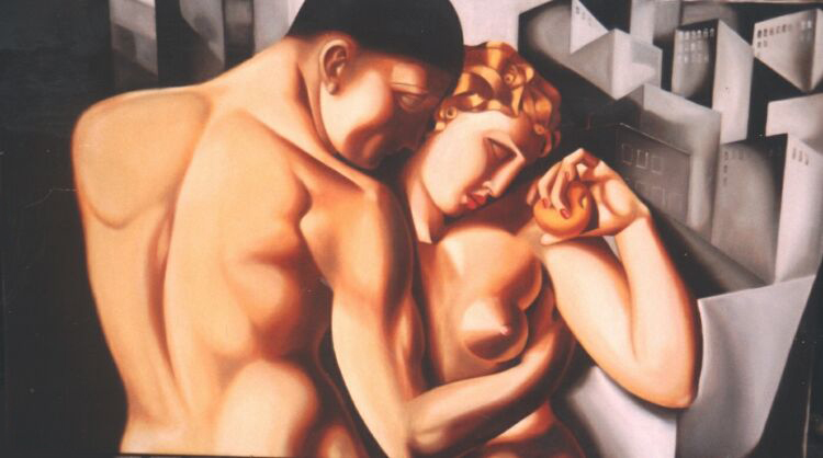 Copy, Tamara de Lempicka. Oil on canvas. The client wanted this painting of Adam & Eve in a horizontal format instead of the original's vertical composition, so I cut Tamara's full standing figures to half & extended the background. 100 x 180 cm (39 x 71 in)