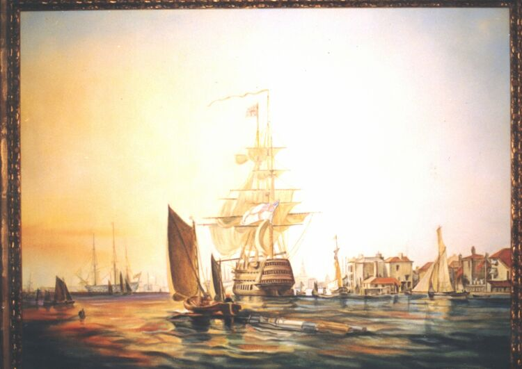 Painting, oils on canvas. 18th century English shipyard.