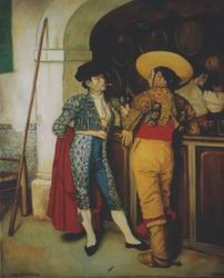 Painting, oil on canvas- Spanish bodega in bull-fighting ring.