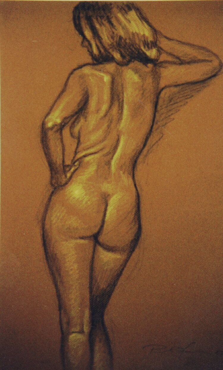 Drawing, Conte crayons on pastel paper. Nude-4.