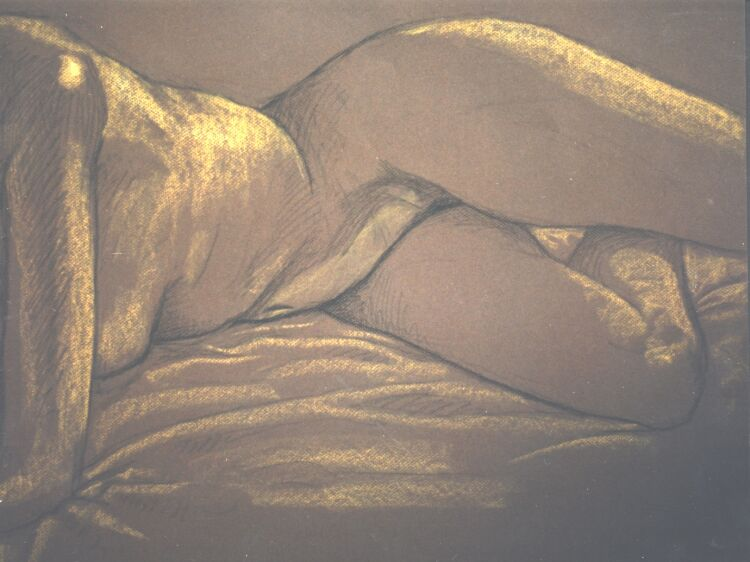 Drawing, Conte crayons on pastel paper. Nude-5. 65 x 50 cm (26 x 20 in)