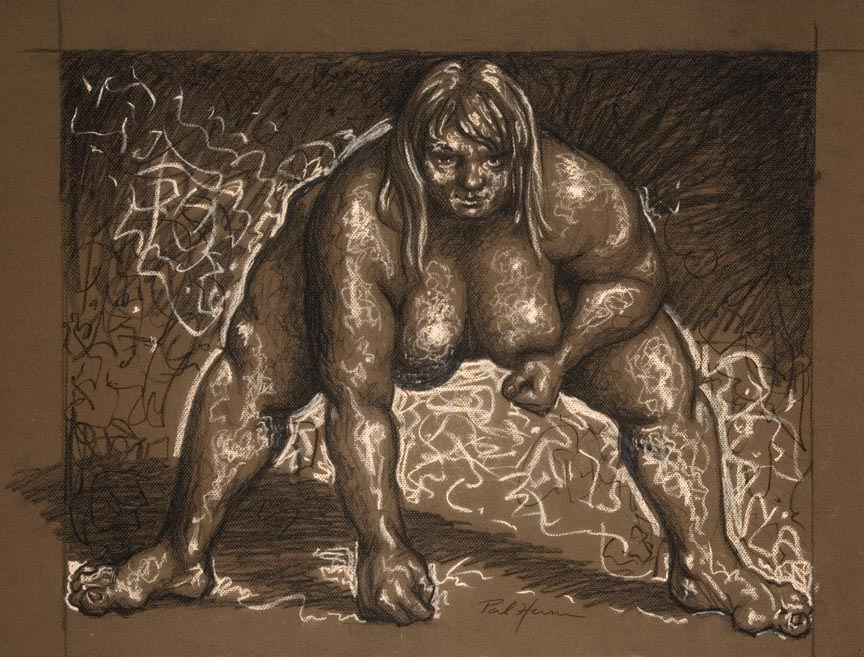 Drawing, Conte crayon on pastel paper. I did this drawing from a photo in an article about an actual female sumo wrestler, I thought she was beautiful & powerful & removed the slight bathing costume she wears when she wrestles.