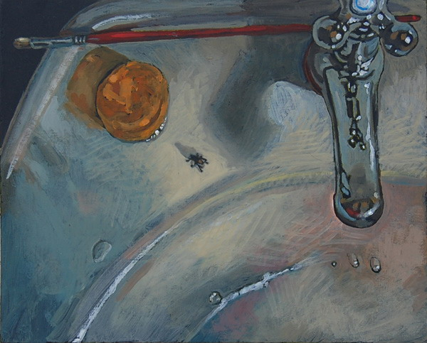The Fly  oils on panel 8 x 10 inches. Paintings  murals and sculpture by Paul Herman   Still lifes pg 4