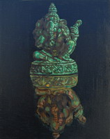 Bronze Ganesh oils on wooden panel 10 x 8 inches