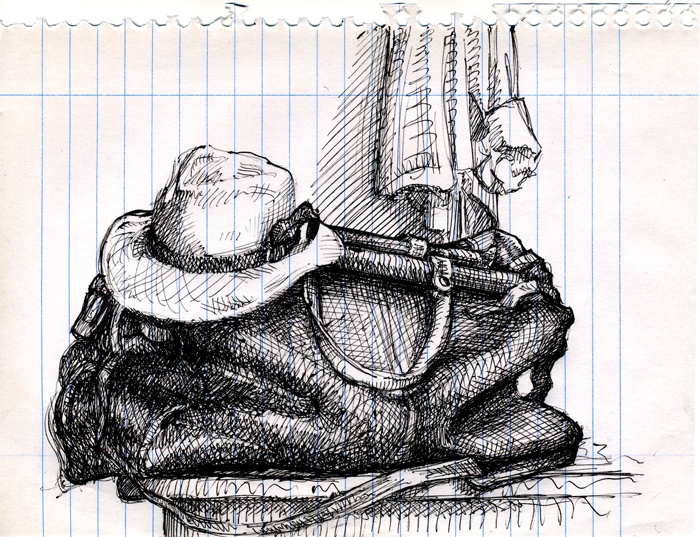 My suitcase & Panama. ballpoint pen 6 x 8 inches