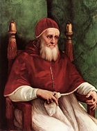 Pope Julius II by Rafaello Sanzio (whose frescos also decorate Vatican city)