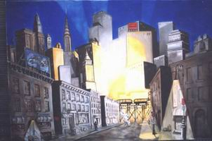 Painting, oil on canvas- Cityscape-night. 150 x 210 cm.