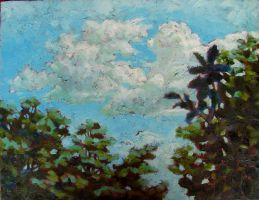Painting, oil on canvas- Clouds over Chiang Mai. 40 x 60 cm
