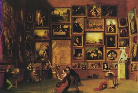 Click for an interesting interactive map of this painting by Samuel Morse of a gallery in the Louvre provided by Washington university (in new window).