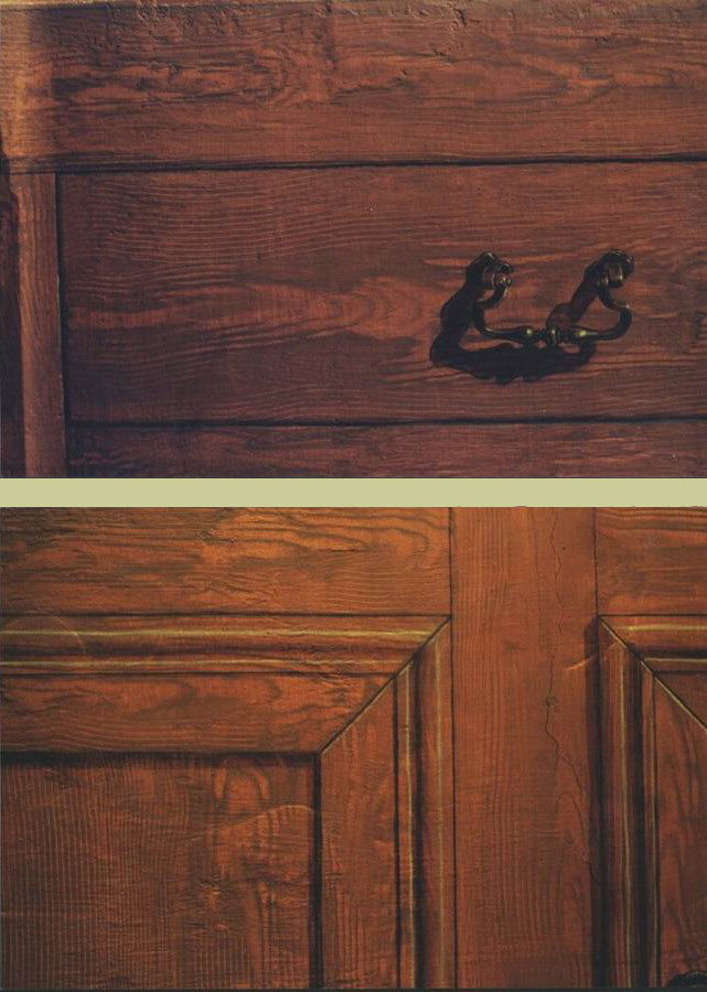 Mural: Two details of painted wood cabinets & painted brass drawer handle.