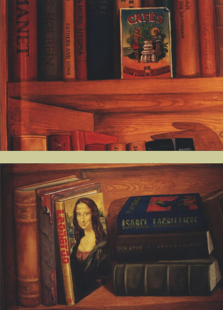 Mural: Two details showing an old postcard, an invented book about Leonardo with the Mona Lisa painted in a false perspective that I found very challenging indeed! On the stack next to it an invented book of Flamenco dance with my girlfriend, a flamenco dancer, on its cover.