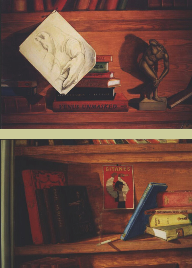 Mural: Two details of shelves. On the lower one, a book dedicated to Paul Herman with a self-portrait on the cover & a burning cigarette left on the shelf.