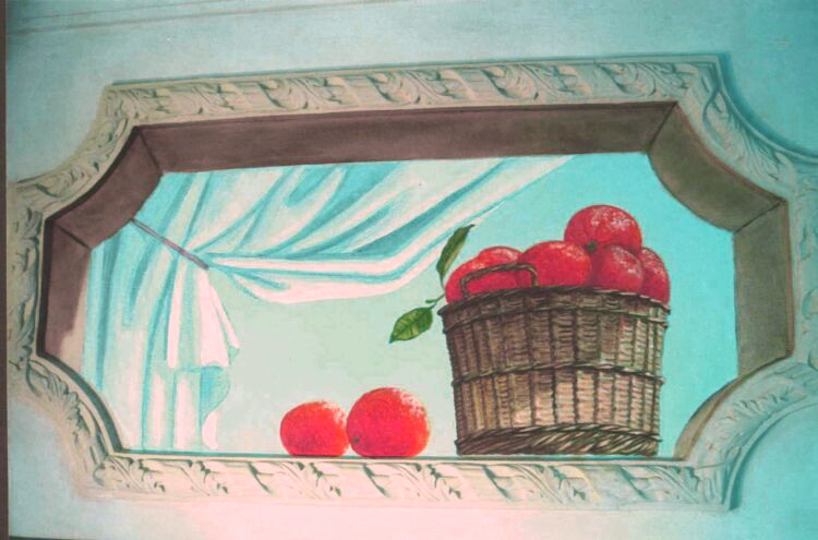 Mural: Second window of Mediterranean still life.