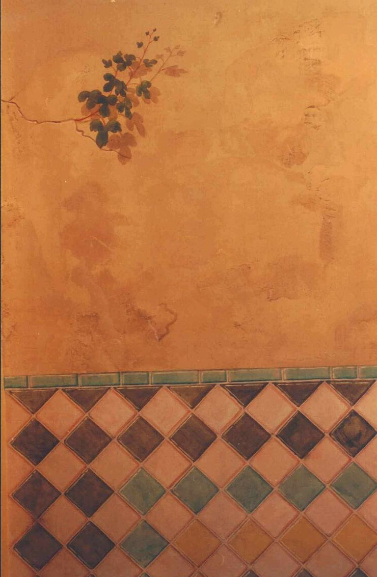 Mural: a detail of the painted Al-Andalus tiles & grape vine breaking through a painted crack.