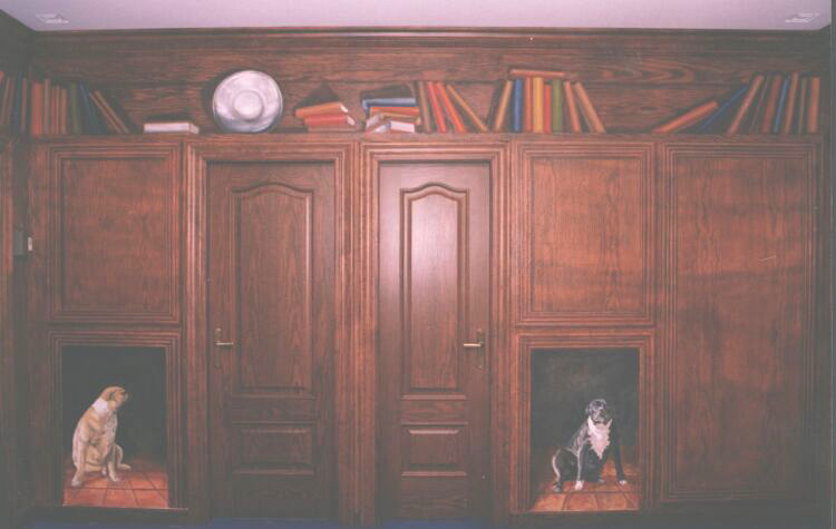 Mural: This began as one of two white walls with two beautiful walnut doors, the rest of the room was wood painted by hand to match the doors. The owner's beloved dogs were added later at his request.