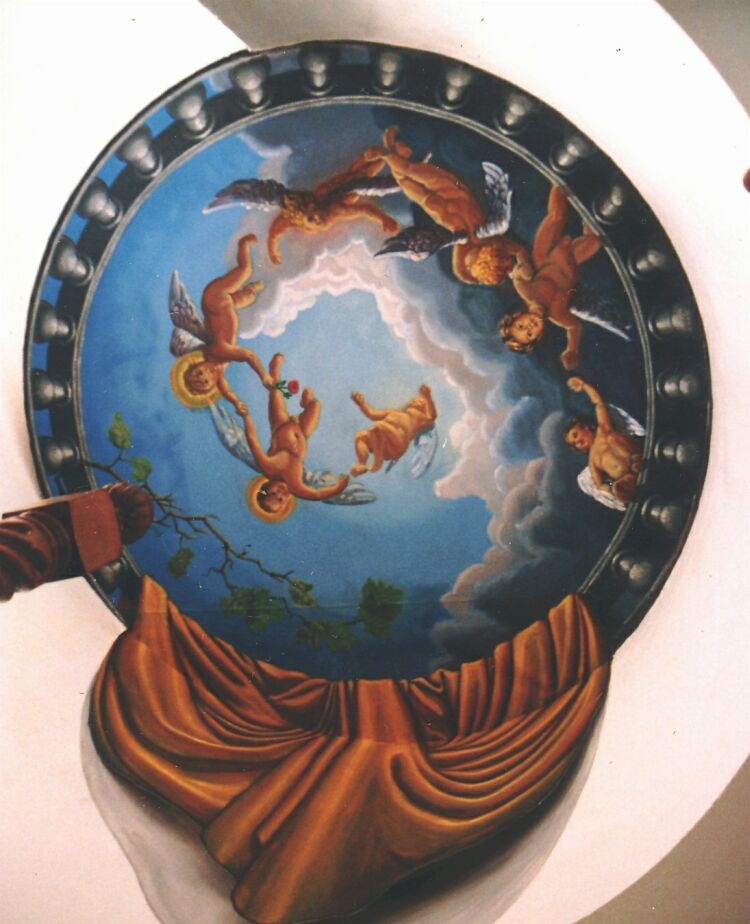 Mural: Angels painted on a round ceiling above a spiral staircase, three of the angels are portraits of the client's children.