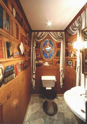 Library mural in toilet.