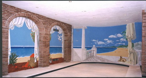 Painted walls around indoor swimming pool.