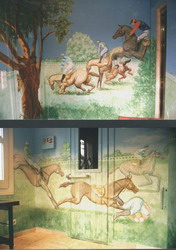 2 views of Grand National mural covering entire sauna room.