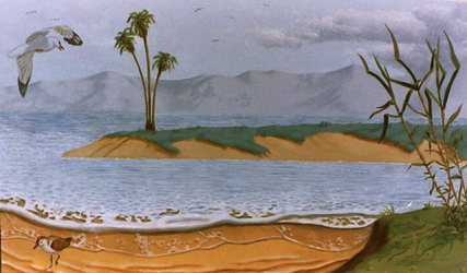 Mural: One of two seven foot wide landscapes painted on canvas for USC oncology department in Los Angeles. They form a continuous landscape that were fitted into two niches, about a metre apart, built into one wall.