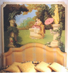 Headboard mural on canvas & fitted to molding. Using elements of Boucher paintings.