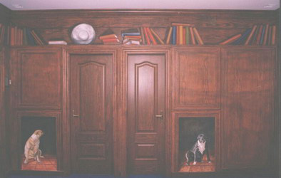 One of three walls of hand-painted wood paneling designed to match the oaken doors, which are the only things made of wood in the image.