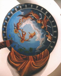 Circular mural on a ceiling, the angels are portraits of the client's children.