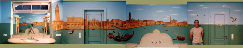The four walls of the Canaletto mural pieced together