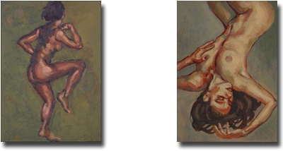 Two little nude sketches by the artist- oils on panel 7 x 5 inches (18 x 12 cm)