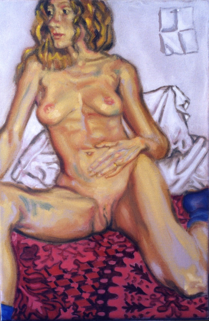 Nude, oil on canvas. Isabel on red bedcover.