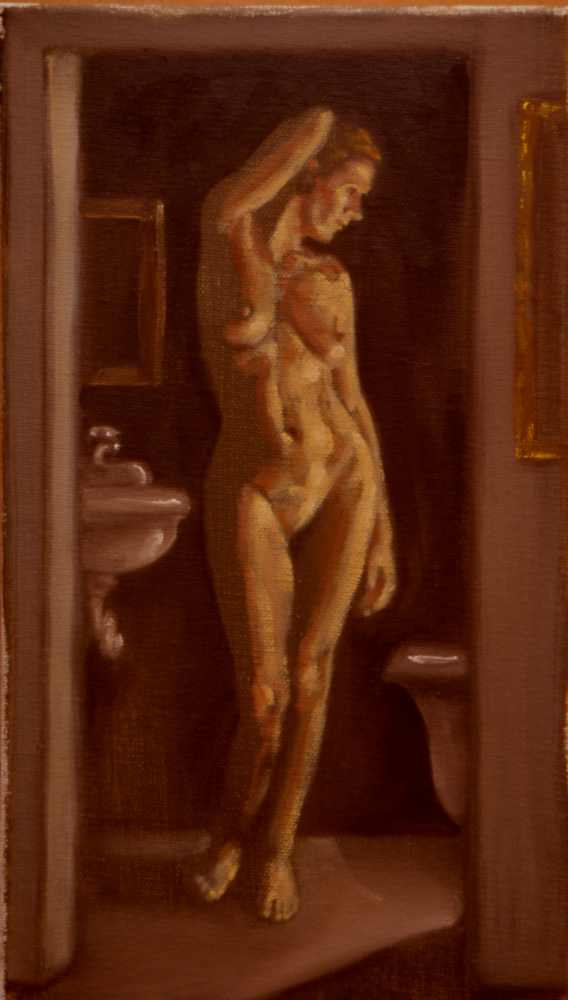 Nude, oil on canvas. Isabel in bath.