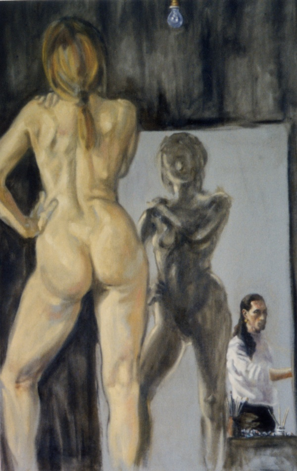 Nude, oil on canvas. Nude with self-portrait. 115 x 75cm