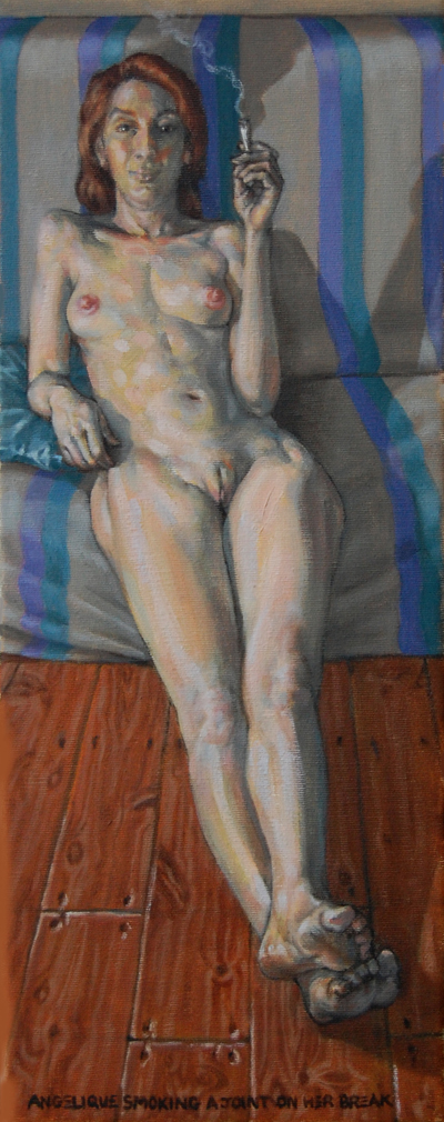 Nude, oil on canvas. Angelique smoking a joint on her break.