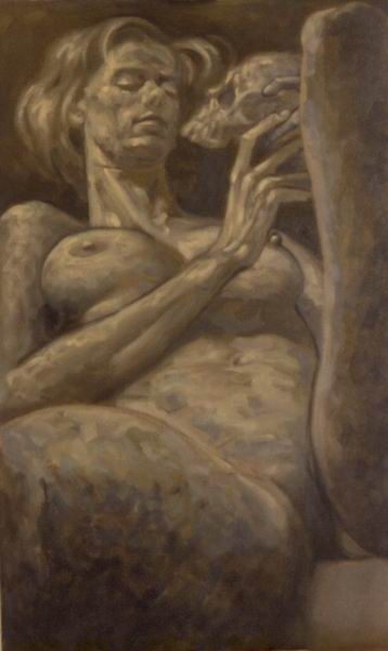 Nude, oil on canvas. Isabel with skull 2.