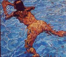 Painting, oil on canvas- Isabel swimming. 80 x 120 cm